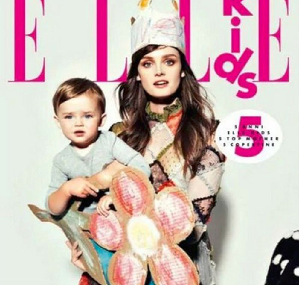 Lisa Cant and her son on the cover of ELLE Kids, Italy.