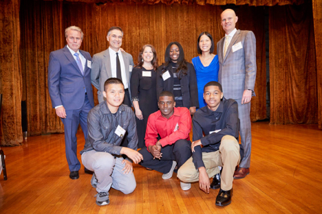 Faith Network Gala 2018  with four of our five Eddie Ashley Scholarship Recipients. Front Row: Nathan Talavera, Albert Mitchell, and Garyon'tae Smith Back Row: Jim Wambach, Jesus & Melissa Arciniega, Amber Johnson, and Doris & Todd Ahlsten