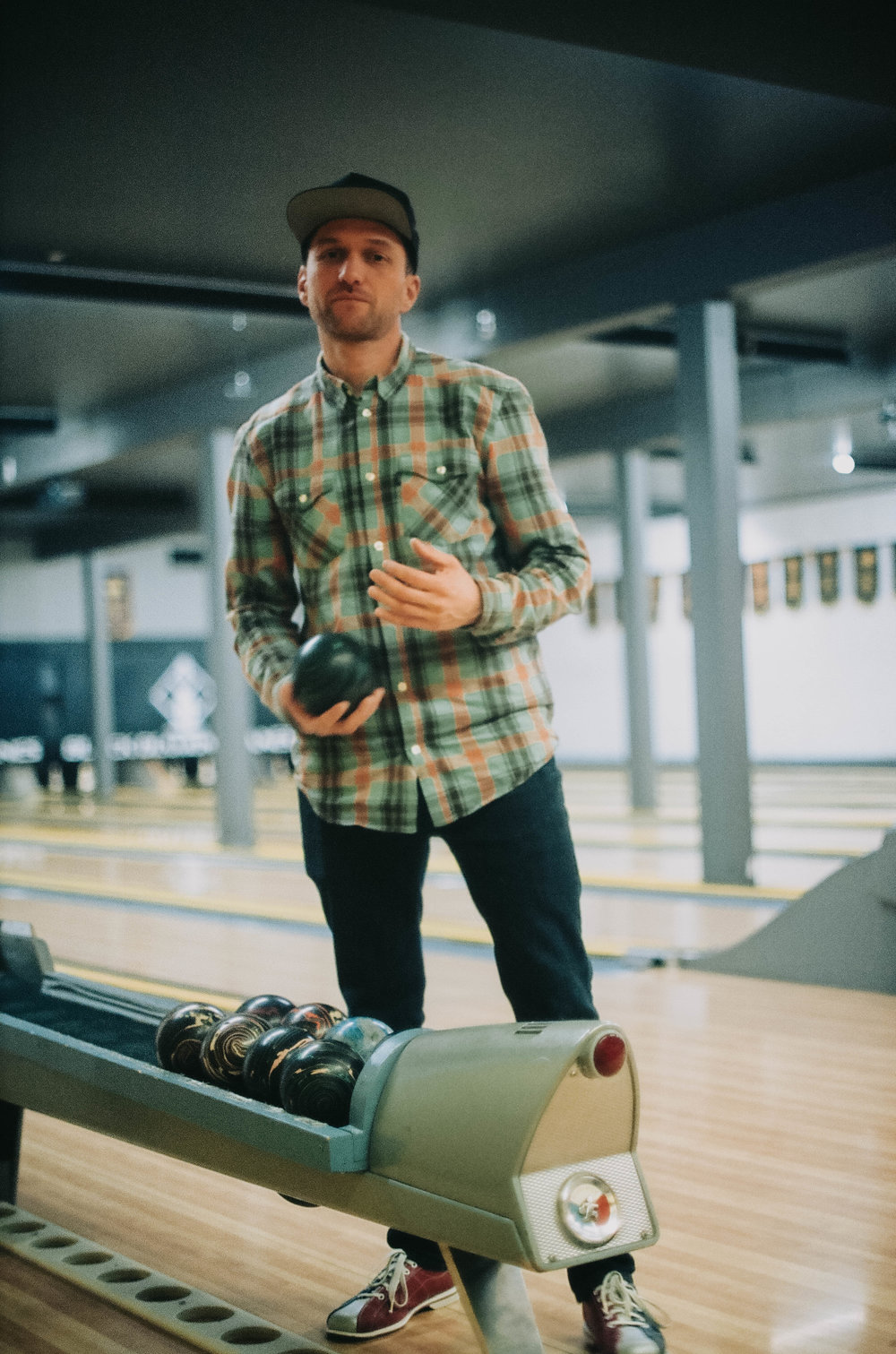 Erik takes bowling very seriously.