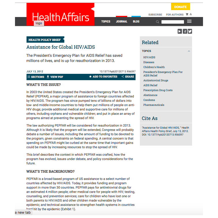 RECOMMENDED CITATION  Mary Mulhern Kincaid.. 2012. Health Policy Brief: Assistance for Global HIV/AIDS.  Health Affairs..