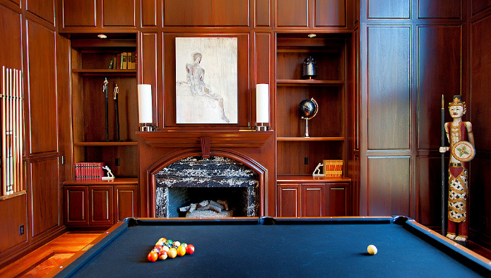 Traditional Wood Paneled Game Room