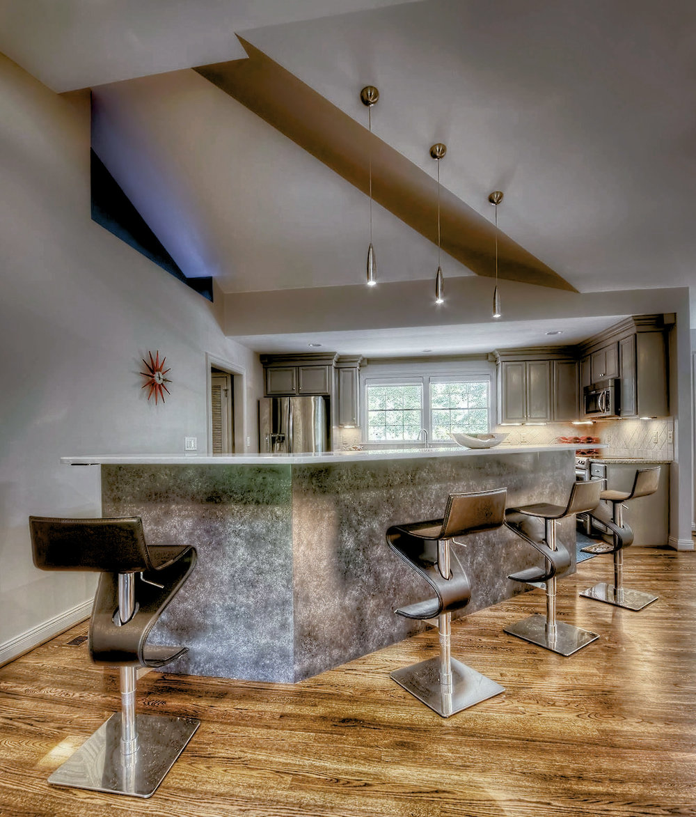 Home Bar Design with Angled Ceiling