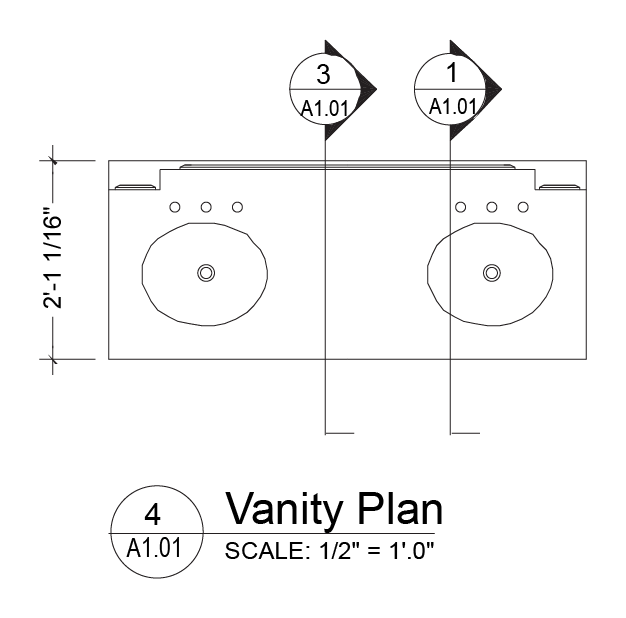This illustration is a plan: a bird's eye view looking down from three feet above the floor.