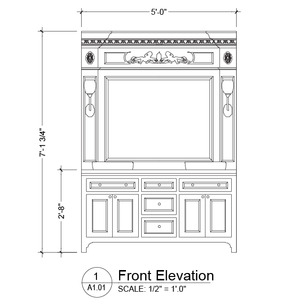 The elevation shows us what we would see standing in front of the vanity. The location/point of the view is again noted with a circle and arrow on the plan.