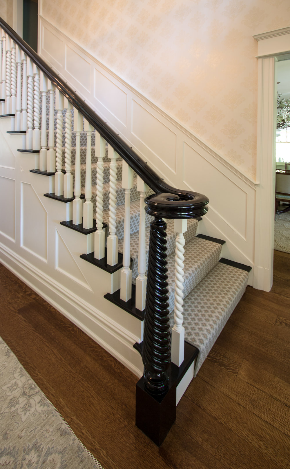 Custom newel post and ballastrade