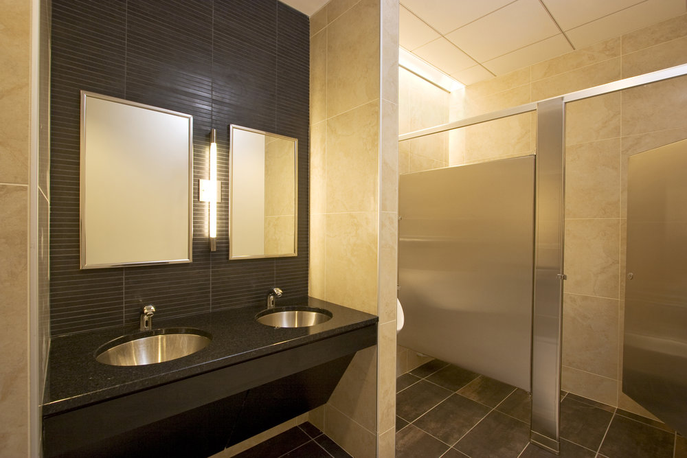 After: Men's rest roomNewly renovated restrooms – both men's and ladies' – provide a dignified place to freshen up.