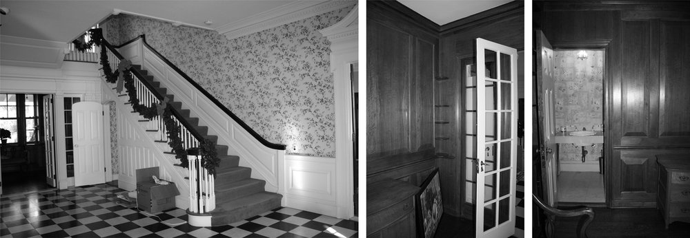 The foyer before renovation; original rear foyer; original powder room