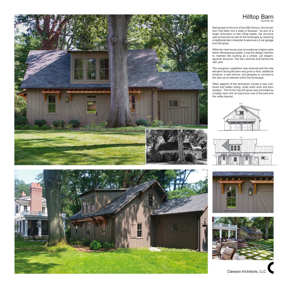 "The AIA chapters presented the Gold medal award for the Clawson firm's design of the ""Hill Top Barn in Summit, NJ"" The jury noted that Clawson Architects, ""consistently turns out beautiful work."""