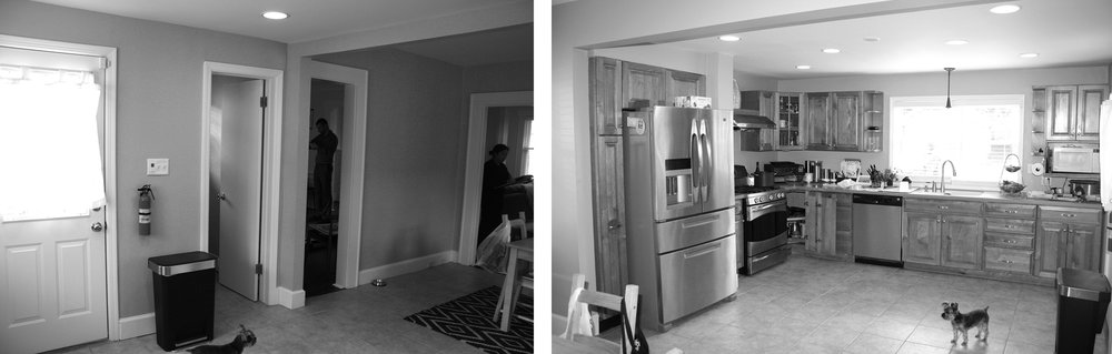 Views of doorways, including doorway to dining area, and the kitchen prior to renovation.