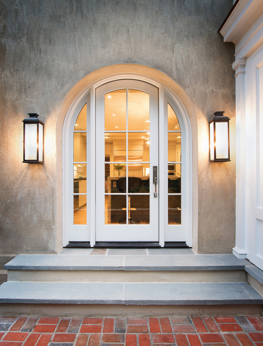 Exterior detail: custom-designed arched doors