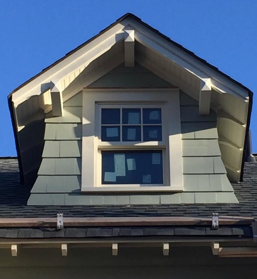 The Attic dormer referred to in one of my earlier blogs.  Note the brackets and rafter details.