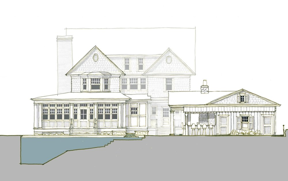 Proposed Design for expanded sun room, new pool and pool house with fireplace and outdoor kitchen. Estimated completion Summer 2018