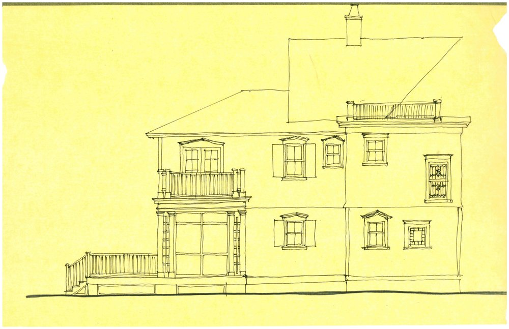 Design Drawing of Side Elevations. French doors off the Master Suite lead to a private balcony over the screened porch.