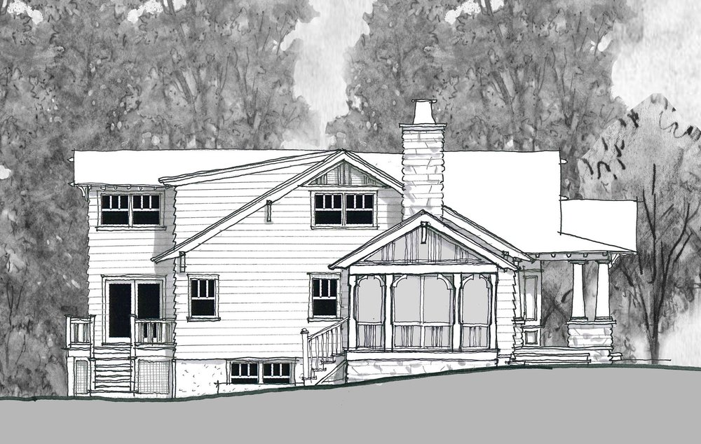 Proposed South Elevation with new screened porch