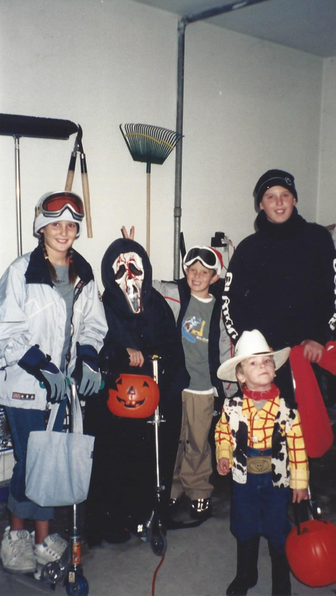 (Trick-or-Treating with the neighborhood crew, 1999)