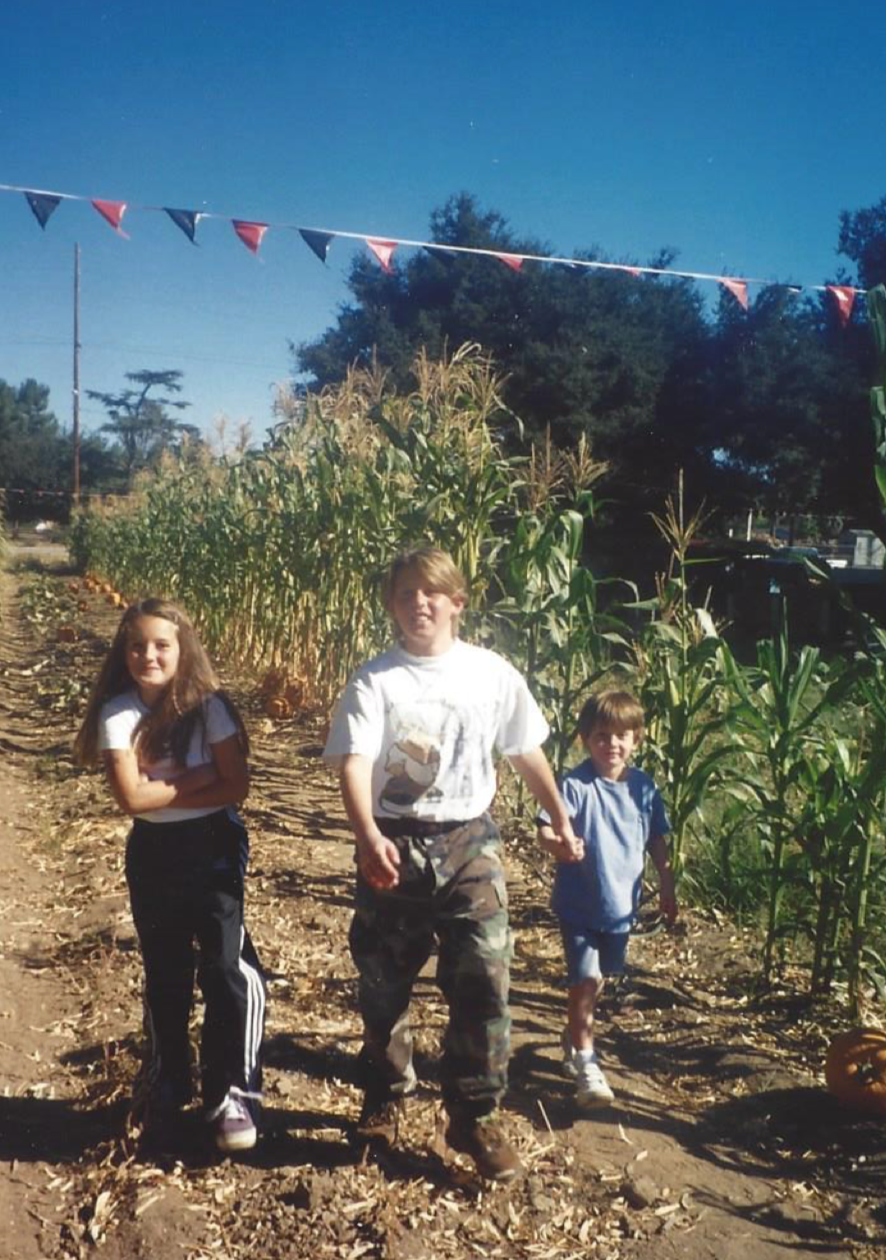 (Me and brothers at Pumpkin Patch week before Halloween, 1998)