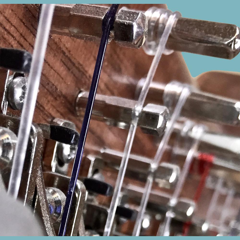 Threaded harp bridge pins