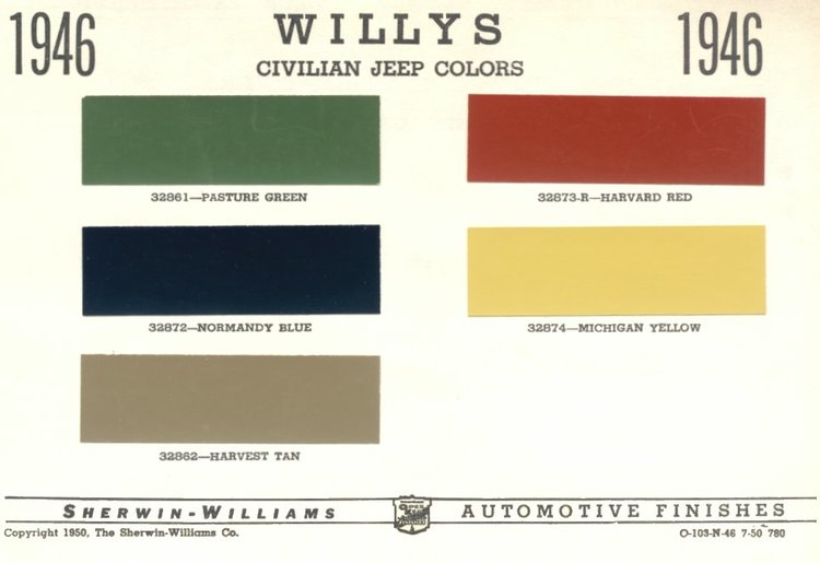 Favorite CJ2A Factory Paint Colors — Willy's Builder GW71