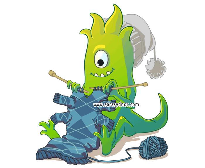 Knitting Monster Green