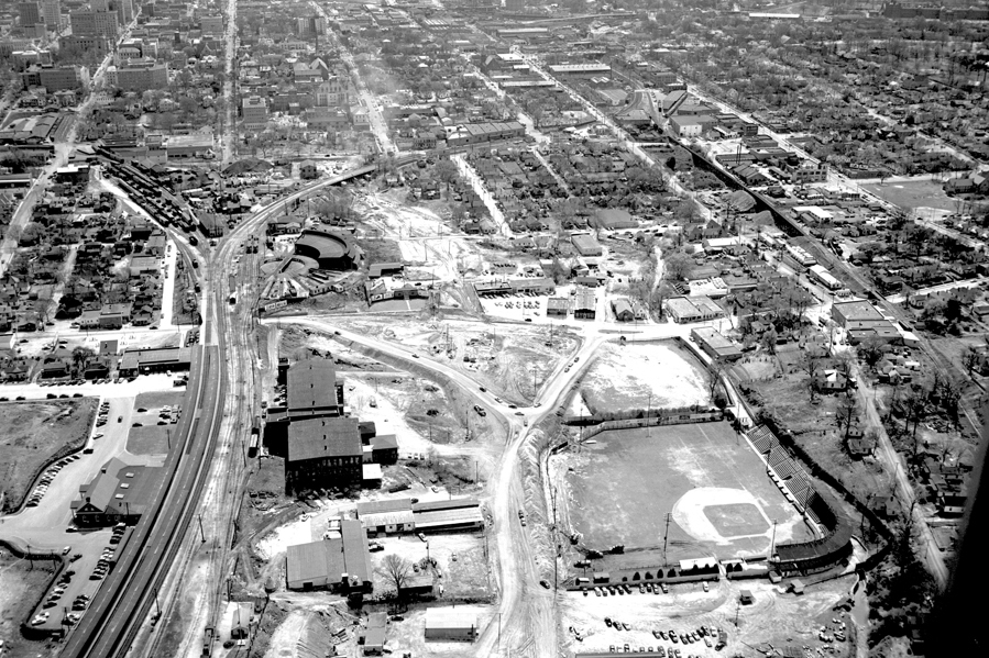 Aerial view of Devereux Meadows Baseball Park and surrounding area