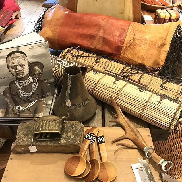 New items in... Toureg pillow, Bella mats, Finnish Sami antler bottle openers, olive wood spoons from Mali, lost wax bell from Pakistan and beautiful book of portraits by Phil Borges @crazywisefilm