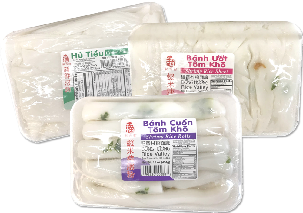 These noodles (banh pho tuoi) are delivered multiple times a week to ensure freshness.  Perfect for homemade soups!