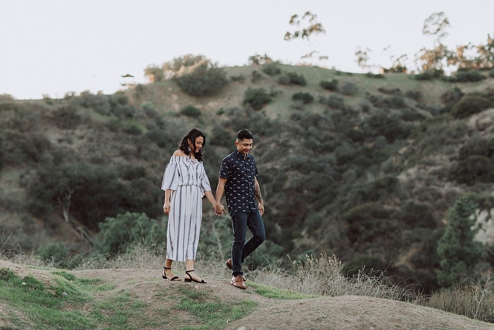 Los Angeles Romantic Outdoor Engagement Photos in the Mountains, candid engagement photos