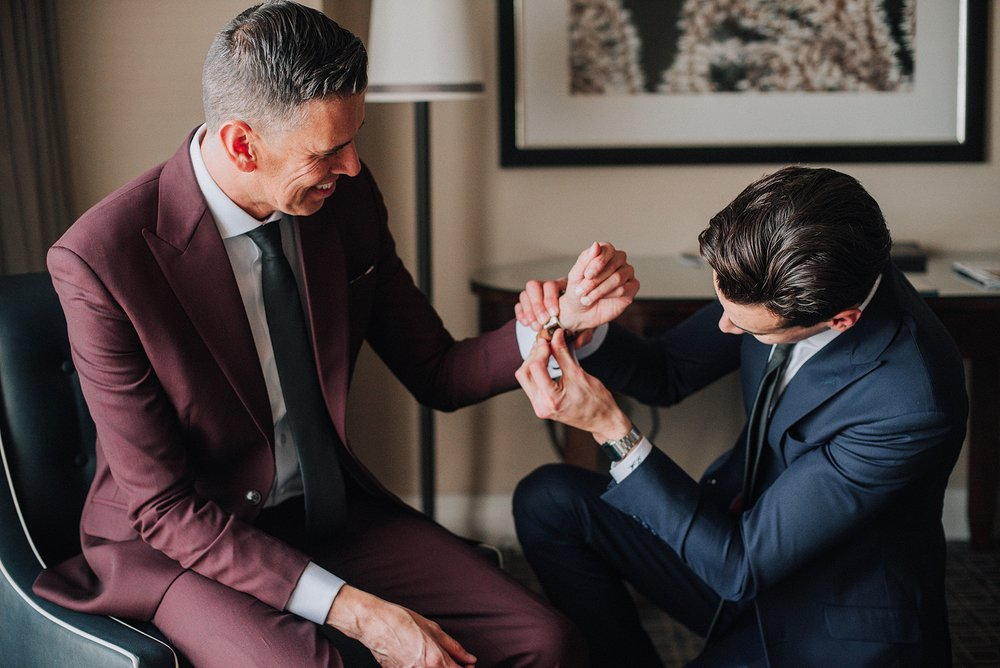 Groom and Son getting ready, Omni Hotel Downtown Los Angeles