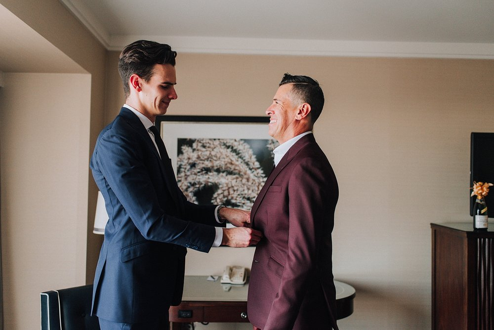 Groom and Son getting ready, Omni Hotel Downtown Los Angeles. Los Angeles Wedding Photographer