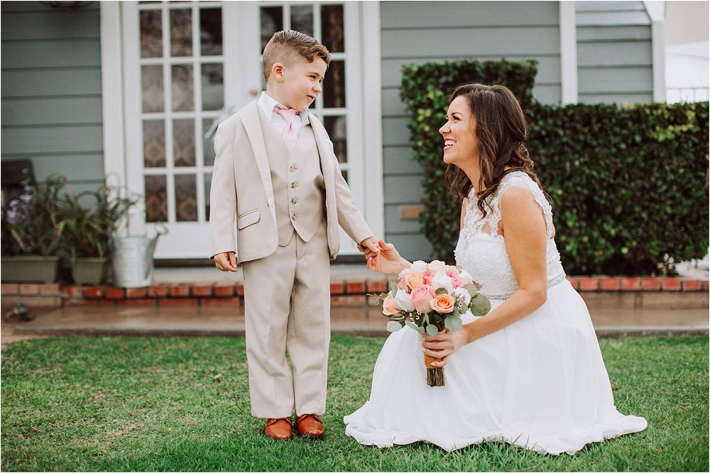 Santa Clarita wedding photography - First look with bride's son