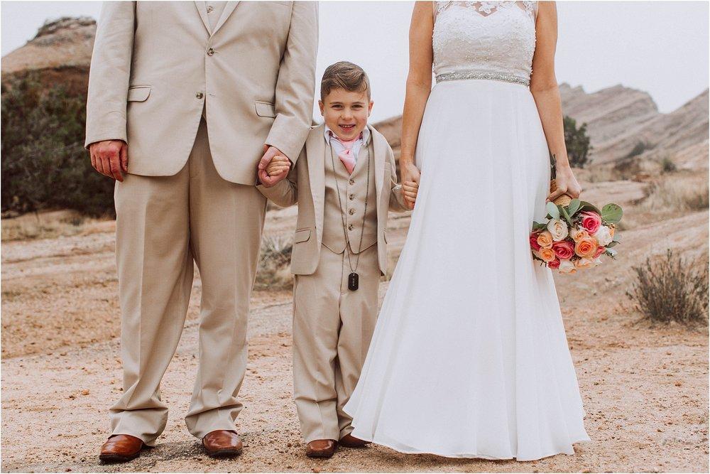Vasquez Rocks Intimate Wedding & Elopement Photography - Bride & Groom Portraits Rainy Day