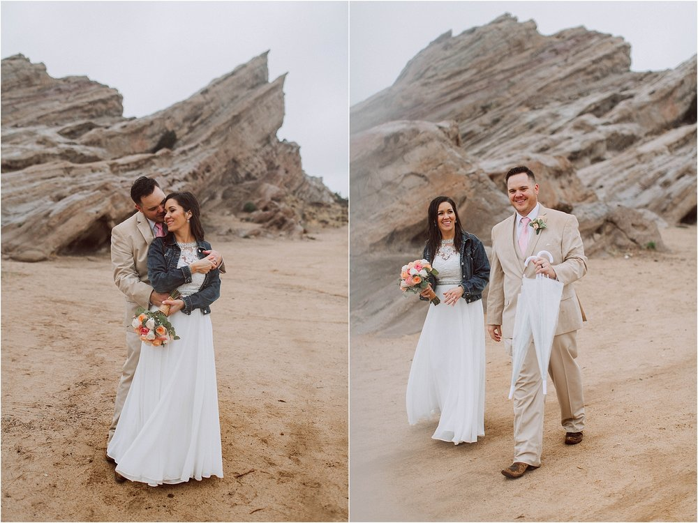 Vasquez Rocks Intimate Wedding & Elopement Photography - Bride & Groom Portraits in the rain