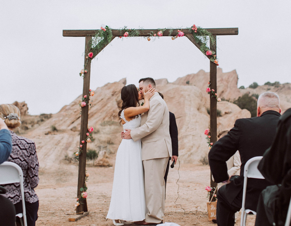Vasquez Rocks Intimate Wedding & Elopement Photography - first kiss