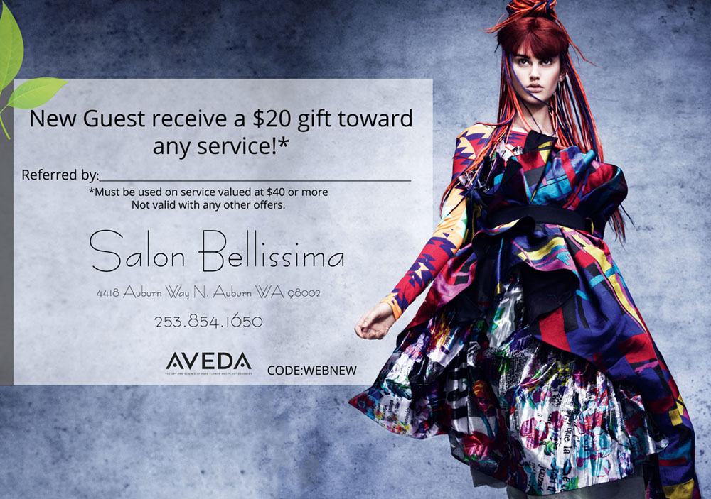 New guest receives $20 off any service.* Mention who referred you and they will receive a gift also! Click here to print.