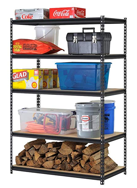 Edsal Black Steel Storage Rack, 5 Adjustable Shelves -