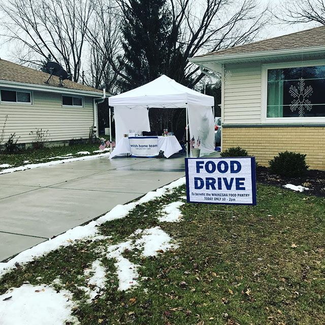 It's cold! It's rainy! But we're out here collecting your donations for @waukeshafoodpantry!  #wemovewi
