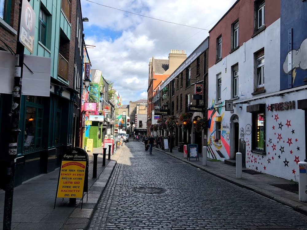 "Temple Bar - originally named a ""barr"" as in a sandbank near a river, but this area is now more known for its pubs and lively atmosphere."