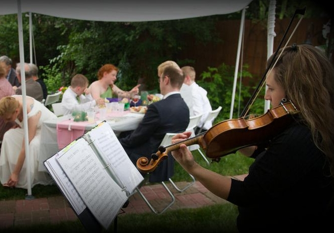 """CEREMONY + COCKTAIL HOUR This package includes solo violin to accompany each section of your ceremony, PLUS cocktail hour background music. Song(s) by request can be discussed after submitting your initial inquiry.To submit a """"Wedding Details Questionnaire Form"""" please click INQUIRE."""