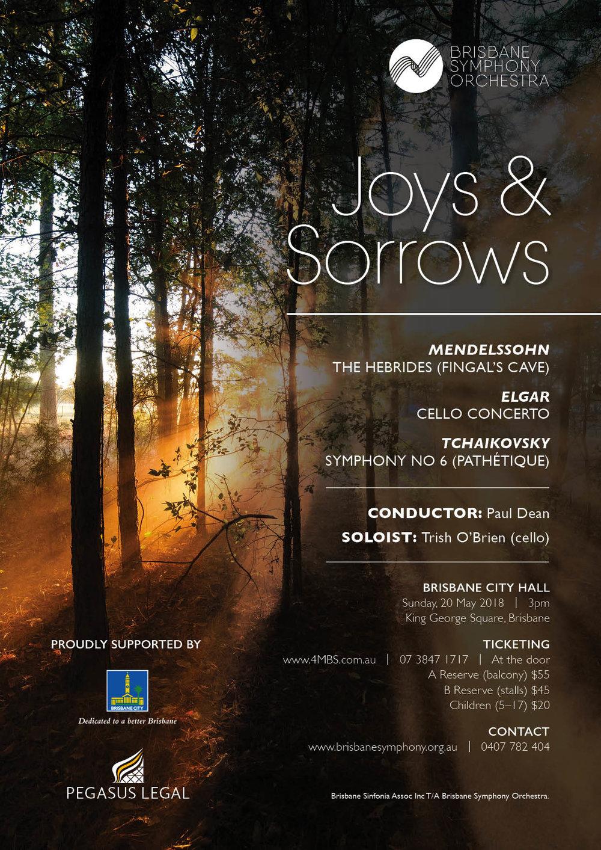 BSO SEASON 2, 2018 — JOYS & SORROWS - Sunday 20 May, 3pm