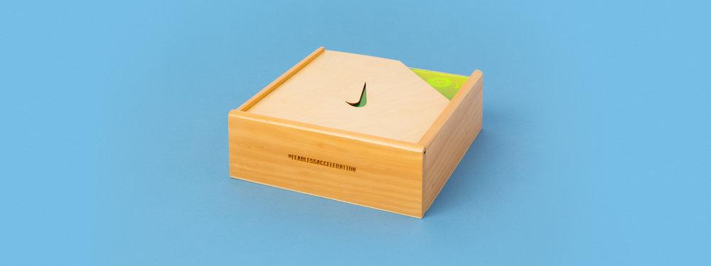 Pre-fab pine box, Laser engraved box, laser cut box, nike seeding kit, custom fabrication, portland