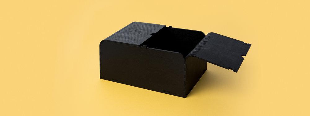 Nike SB, shoe box, living hinge, living hinge, black stain, no hardware Laser engraved box, laser cut box, nike seeding kit, custom fabrication, portland