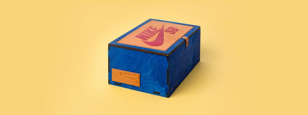 Nike SB, show box, engraved leather, living hinge, laser cut, Laser engraved box, laser cut box, nike seeding kit, custom fabrication, portland
