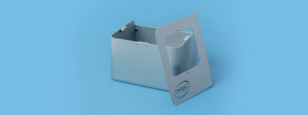laser cut, laser cutting, intel, custom box, magnetic lid, powder coat