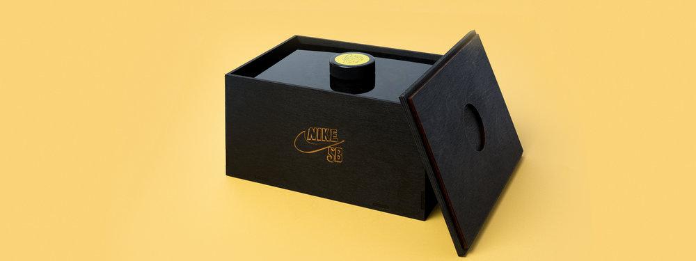 nike sb, brain anderson, seeding kit, shoe box, laser engraved acrylic, laser cut acrylic, smoke acrylic