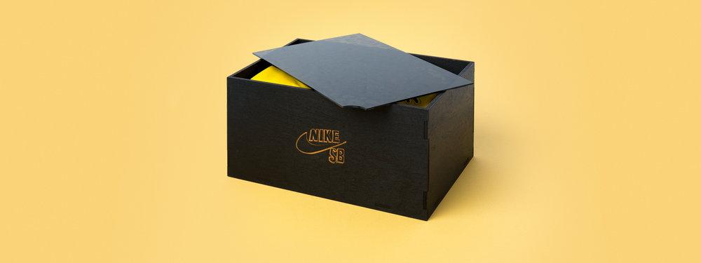 nike sb, brain anderson, seeding kit, shoe box, laser engraved acrylic, laser cut acrylic, smoke acrylic, street hockey