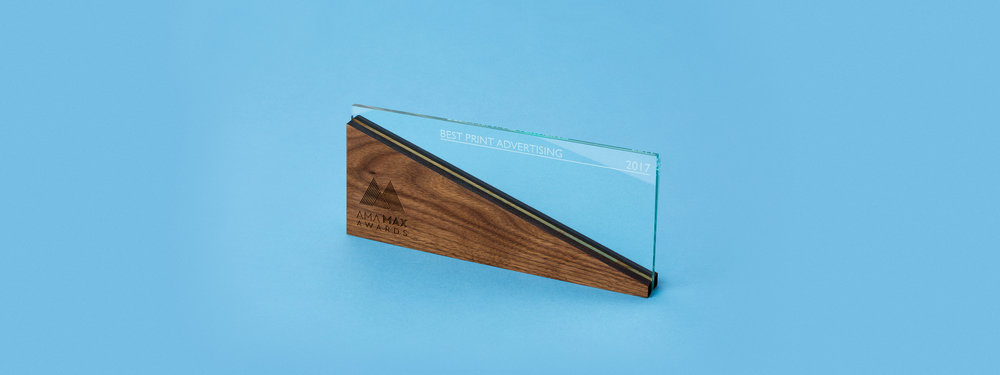 custom award, trophy, design, laser cut acrylic, laser cut wood, engraved wood, engraved green edge acrylic, portland, OR