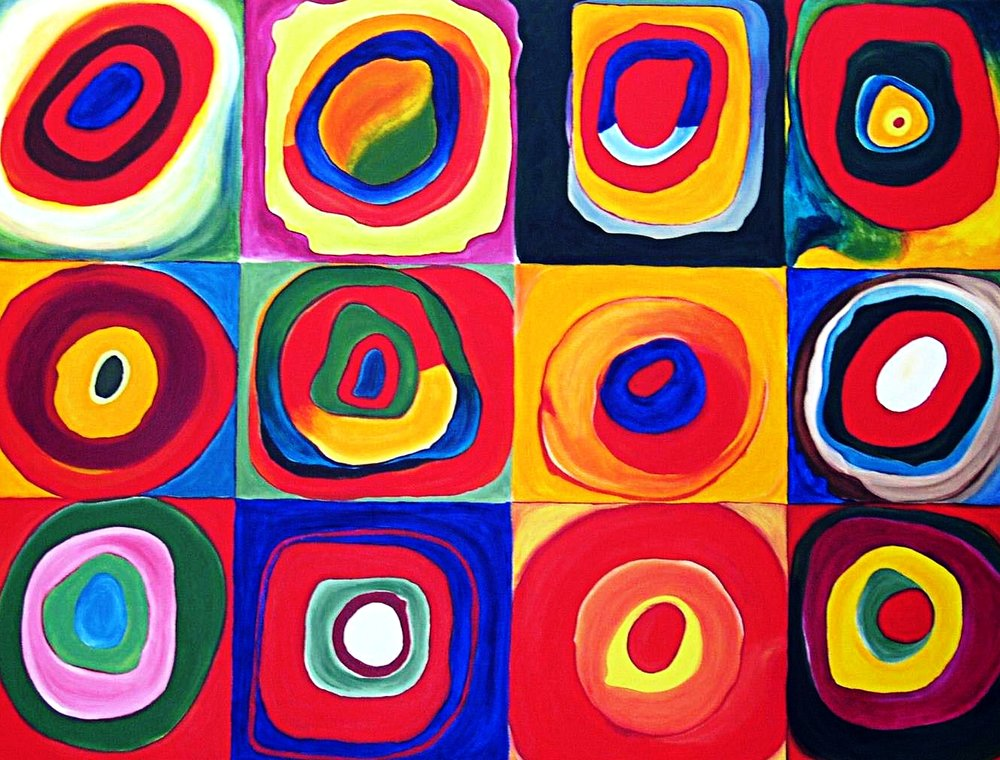 """After Kandinsky's Squares with Concentric Circles"""