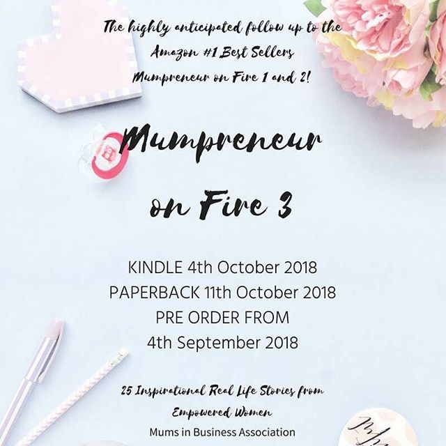 I'm so excited to announce that the book I have been featured in as a co-author is now available to pre-order via Amazon - 1 week earlier than expected 🙌🏻 Mumpreneur on Fire 3 is the third in the series and features the inspirational stories of 25 women in business. It's an absolute honour to be featured.  You can pre-order your copy by hitting the link in my bio xx #mof3
