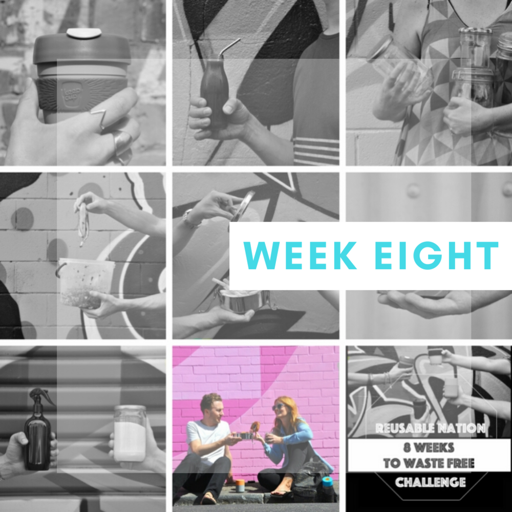 """Week Eight: Enjoy a zero waste weekend away - Being zero waste takes more effort when you're on the road! When traveling, you are far away from the bulk stores and friendly local traders you have come to know and love over the past weeks.You also become more relaxed when on holiday and it is way easier to let all the good routines you have built up fall to the wayside.However, you don't have to do anything differently, you just have to implement everything you have learnt and achieved in each challenge so far.Pack your zero waste essentials (we share what we have in our zero waste survival kit in one of our blog posts), beauty products and sustainable clothing choices (no fast or new fashion – buy second-hand clothing if you need something new for the trip), fill up jars and reusable containers with bulk snacks, encase some sandwiches in some beeswax wrap and hit the open road!On the way, take note of anything you didn't think of and where you go right and where you go wrong. The learning never stops! And, that's a good thing!This week's mantra:""""I've got this!"""""""