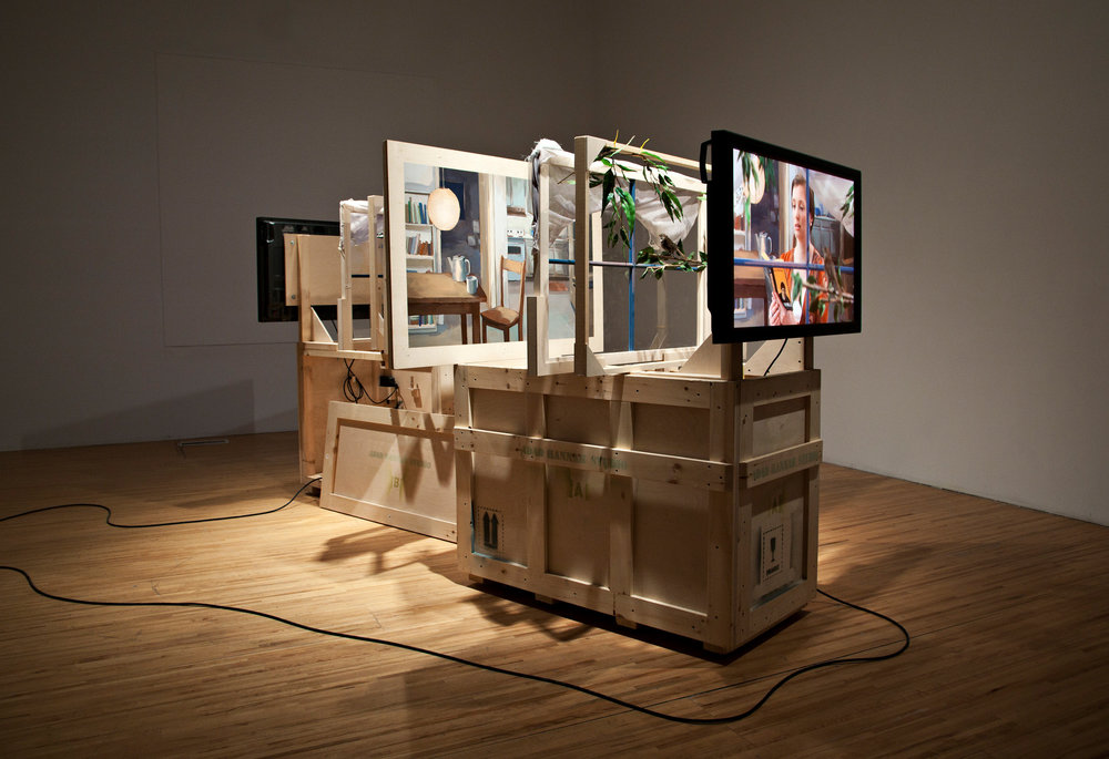 Two Views , Installation with 2 HD videos, 2 plasma screens, 2 stuffed birds, 2 wooden crates, acrylic paint, and other materials Installed at DAÏMÕN / AXENÉO7, Gatineau, 2011